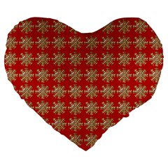 Snowflakes Square Red Background Large 19  Premium Heart Shape Cushions