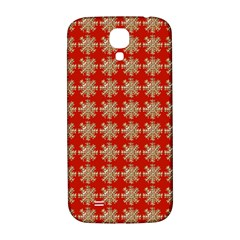 Snowflakes Square Red Background Samsung Galaxy S4 I9500/i9505  Hardshell Back Case