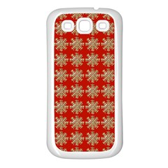 Snowflakes Square Red Background Samsung Galaxy S3 Back Case (white)