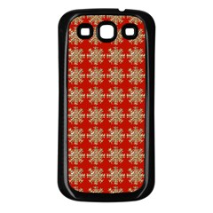 Snowflakes Square Red Background Samsung Galaxy S3 Back Case (black)