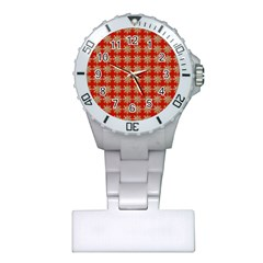 Snowflakes Square Red Background Plastic Nurses Watch