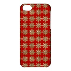 Snowflakes Square Red Background Apple Iphone 5c Hardshell Case