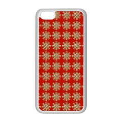 Snowflakes Square Red Background Apple Iphone 5c Seamless Case (white)