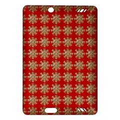 Snowflakes Square Red Background Amazon Kindle Fire Hd (2013) Hardshell Case