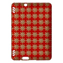 Snowflakes Square Red Background Kindle Fire HDX Hardshell Case