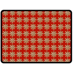 Snowflakes Square Red Background Double Sided Fleece Blanket (Large)