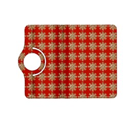 Snowflakes Square Red Background Kindle Fire Hd (2013) Flip 360 Case