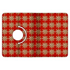 Snowflakes Square Red Background Kindle Fire HDX Flip 360 Case