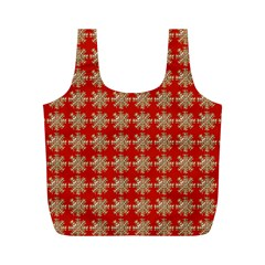 Snowflakes Square Red Background Full Print Recycle Bags (m)