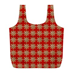 Snowflakes Square Red Background Full Print Recycle Bags (l)