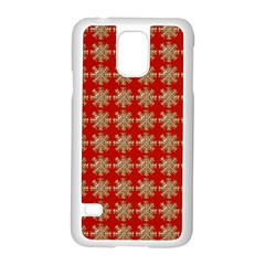 Snowflakes Square Red Background Samsung Galaxy S5 Case (white)