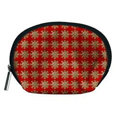 Snowflakes Square Red Background Accessory Pouches (medium)