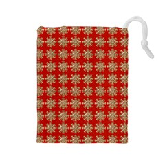 Snowflakes Square Red Background Drawstring Pouches (large)