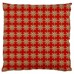 Snowflakes Square Red Background Large Flano Cushion Case (One Side)