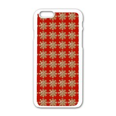 Snowflakes Square Red Background Apple Iphone 6/6s White Enamel Case