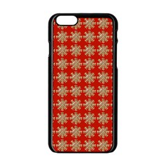 Snowflakes Square Red Background Apple Iphone 6/6s Black Enamel Case