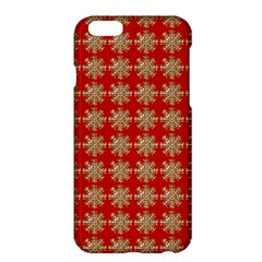 Snowflakes Square Red Background Apple iPhone 6 Plus/6S Plus Hardshell Case