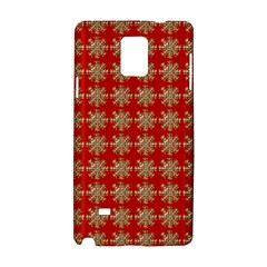 Snowflakes Square Red Background Samsung Galaxy Note 4 Hardshell Case