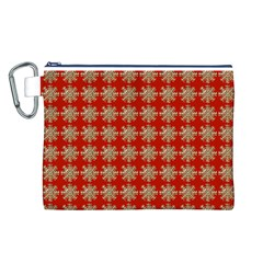 Snowflakes Square Red Background Canvas Cosmetic Bag (l)
