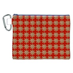 Snowflakes Square Red Background Canvas Cosmetic Bag (XXL)