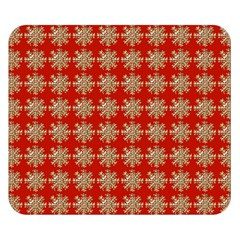Snowflakes Square Red Background Double Sided Flano Blanket (small)