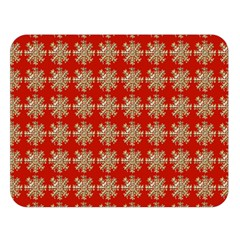 Snowflakes Square Red Background Double Sided Flano Blanket (Large)