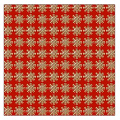 Snowflakes Square Red Background Large Satin Scarf (square)