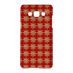 Snowflakes Square Red Background Samsung Galaxy A5 Hardshell Case