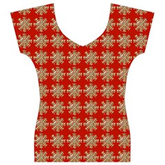 Snowflakes Square Red Background Women s V-Neck Cap Sleeve Top