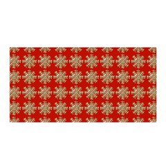 Snowflakes Square Red Background Satin Wrap