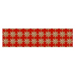 Snowflakes Square Red Background Satin Scarf (oblong)
