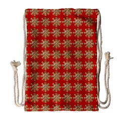 Snowflakes Square Red Background Drawstring Bag (Large)