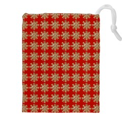 Snowflakes Square Red Background Drawstring Pouches (XXL)