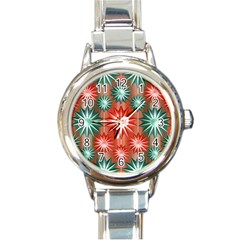 Star Pattern  Round Italian Charm Watch