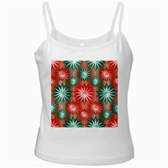 Star Pattern  White Spaghetti Tank