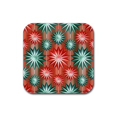 Star Pattern  Rubber Square Coaster (4 Pack)