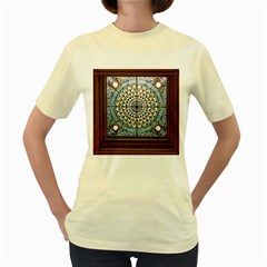 Stained Glass Window Library Of Congress Women s Yellow T Shirt