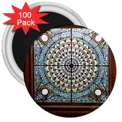 Stained Glass Window Library Of Congress 3  Magnets (100 Pack)