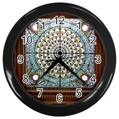 Stained Glass Window Library Of Congress Wall Clocks (Black)