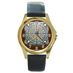 Stained Glass Window Library Of Congress Round Gold Metal Watch