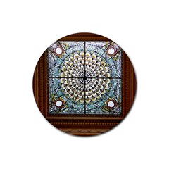 Stained Glass Window Library Of Congress Rubber Coaster (Round)