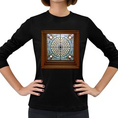 Stained Glass Window Library Of Congress Women s Long Sleeve Dark T Shirts