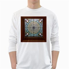 Stained Glass Window Library Of Congress White Long Sleeve T Shirts