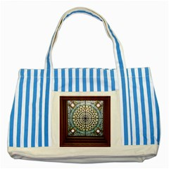 Stained Glass Window Library Of Congress Striped Blue Tote Bag