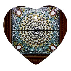 Stained Glass Window Library Of Congress Heart Ornament (Two Sides)