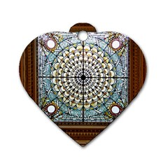 Stained Glass Window Library Of Congress Dog Tag Heart (One Side)