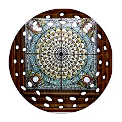 Stained Glass Window Library Of Congress Round Filigree Ornament (Two Sides)