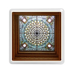 Stained Glass Window Library Of Congress Memory Card Reader (Square)