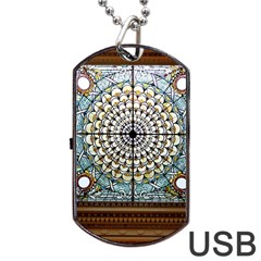 Stained Glass Window Library Of Congress Dog Tag USB Flash (Two Sides)