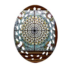 Stained Glass Window Library Of Congress Oval Filigree Ornament (two Sides)